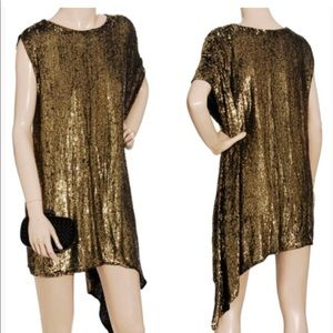 Philip lim side drape gold sequin dress